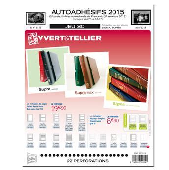 FRANCE AUTOADHESIFS SC : 2015 - 2E SEMESTRE (Jeu avec pochettes)