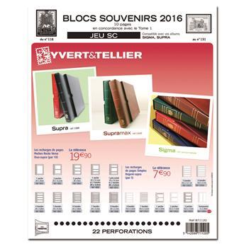 BLOCS SOUVENIRS SC : 2016 (Jeu avec pochettes)
