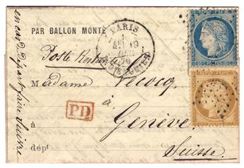 """France : Ballon Monté """"Le Lavoisier"""" pour la Suisse n°56 et 57 obl."""