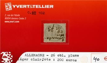 ALLEMAGNE EMPIRE - n°26 obl. plume.