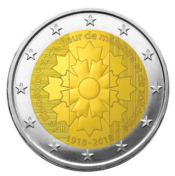 2 EURO COMMEMORATIVE 2018 : FRANCE (ARMISTICE ET BLEUET)