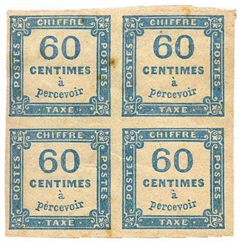France : Taxe n°9** . 60 c. bleu en bloc de 4. Rousseurs.