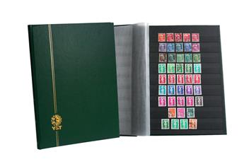 PERFECTA : Classeur fixe pour timbres (Grand modèle-Pages Noires-32p. Bleu)