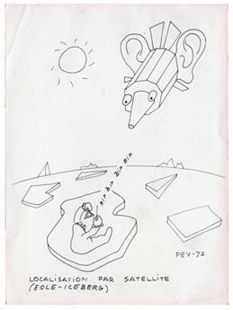 TAAF : Carte de voeux de Pev (Paul Emile Victor) 1972