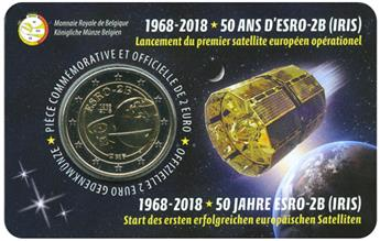 2 EURO COMMEMORATIVE 2018 : BELGIQUE - 50 ans Satellite Esro (Version francophone)