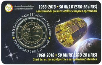 2 EURO COMMEMORATIVE 2018 : BELGIQUE - 50 ans Satellite Esro (Version francophone)