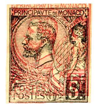 Monaco : Essai du 5 fr. impression doublée