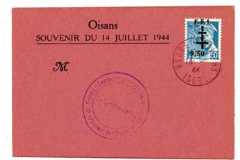 n°1M (MAYER) obl. sur carte - Timbre France Libération (Bourg d´Oisans)