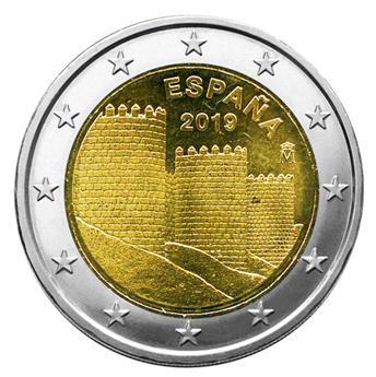 2 EURO COMMEMORATIVE 2019 : ESPAGNE (UNC - Les remparts d'Avila)