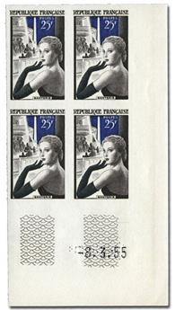 n° 1020a (ND) - Timbre France Poste (Non dentelé en bloc de 4)