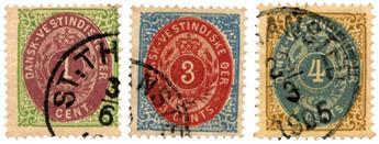 n°5/7 obl. - Timbre ANTILLES DANOISES Poste