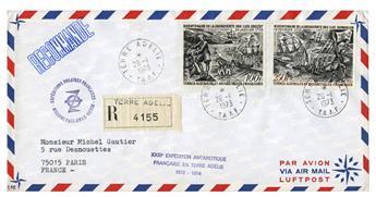 n° 27/28 obl. sur lettre -  Timbre TAAF Poste aérienne