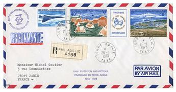 n° 19 et n° 26A obl. sur lettre -  Timbre TAAF Poste aérienne