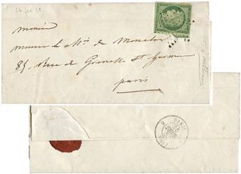 France : n°2 obl.  sur lettre
