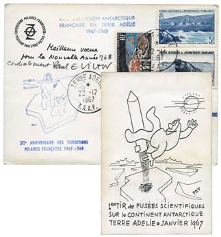 TAAF : Carte de voeux de 1968 (Paul-Emile Victor)