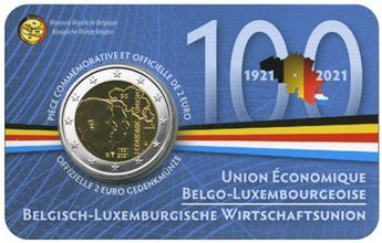 BU : 2 EURO COMMEMORATIVE 2021 : BELGIQUE - UNION ECONOMIQUE AVEC LE LUXEMBOURG (Version francophone)