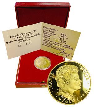 """France : Pièce de 100 fr. or 1984 """"Marie Curie"""""""