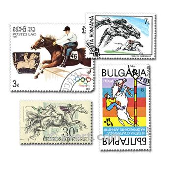 HORSE RIDING: envelope of 50 stamps