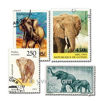 ELEPHANTS : pochette de 50 timbres