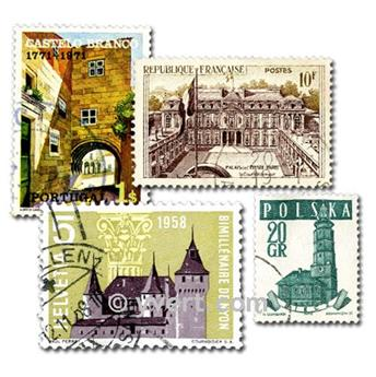 CASTLES: envelope of 100 stamps