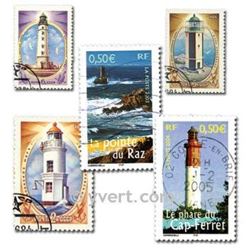 FARÓIS: lote de 25 selos