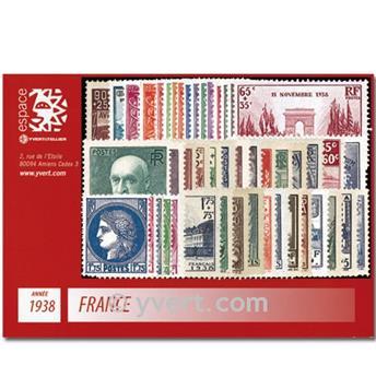 n° 372/418  - Timbre France Année complète  (1938)
