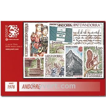 n° 267/273 -  Selo Andorra Ano completo (1978)