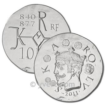 10 EUROS PRATA - FRANÇA - CHARLES LE CHAUVE