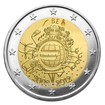 €2 COMMEMORATIVE COIN 2012 : BELGIUM (10 YEARS EURO)