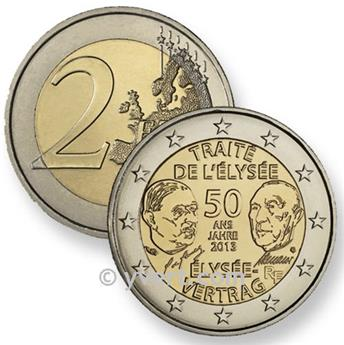 2 EURO COMMEMORATIVE 2013 : FRANCE (TRAITE DE L´ELYSEE)