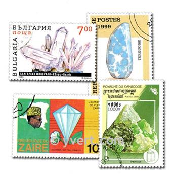 MINERALS: envelope of 100 stamps
