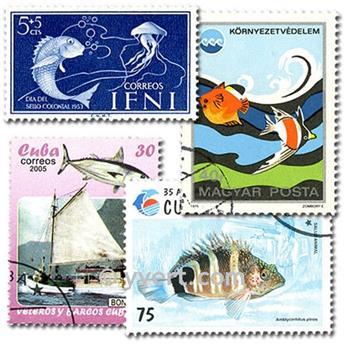 POISSONS : pochette de 700 timbres