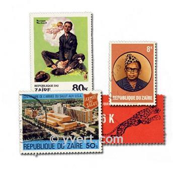 ZAIRE : pochette de 100 timbres