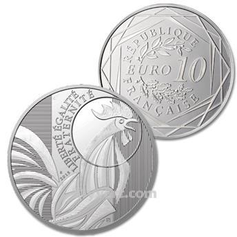 10 EUROS PRATA - França 2015 - O GALO
