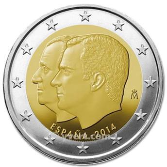 2 EURO COMMEMORATIVE 2014 : ESPAGNE (Abdication du Roi Juan Carlos Ier et accession au trône du roi Felipe VI)