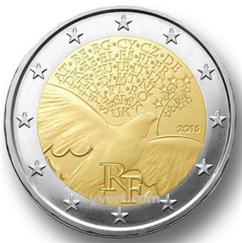 2 COMMEMORATIVE COIN 2015 : FRANCE (70 peace years)