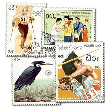 LAOS: envelope of 100 stamps