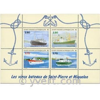 n.o 4 -  Sello San Pedro y Miquelón Bloque y hojitas